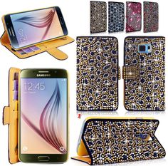 Galaxy S6, S6 Edge - Out on the Town Rhinestone Gems Wallet Case in Assorted Colors