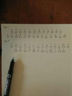 I tried to make my 'fantasy' fonts. Please give advice. Alphabet Code, Alphabet Symbols, Ancient Alphabets, Ancient Symbols, Fictional Languages, Different Alphabets, Code Art, Secret Code, Writing Prompts