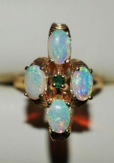 ESTATE 14K YELLOW GOLD .82CT TGW EMERALD & OPAL RING-SIZE 5-585 #SolitairewithAccents