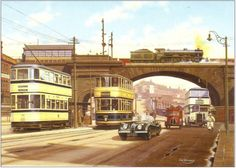 Trams at Wicker Arches, Sheffield