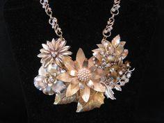 Statement Necklace Vintage Enamel Flower by JenniferJonesJewelry