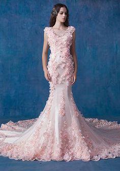 Robe de Mariée Sirène-Glamour Robe De Mariée Sirène En Organza Rose Robe De…