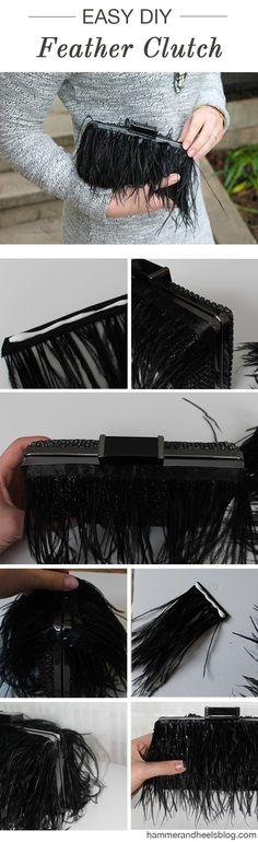 DIY Kate Spade Feather Clutch | http://www.hammerandheelsblog.com/diy-kate-spade-feather-clutch/