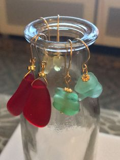 Cultured seaglass earrings ard the perfect fashion statement for Christmas Day. Order now for fast delivery before the 25th. by WhatsAlMade on Etsy https://www.etsy.com/au/listing/500384483/cultured-seaglass-earrings-ard-the