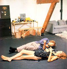 David Hemmings and Veruschka on the set of Blow-Up (1966, dir. Michelangelo Antonioni).