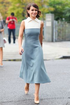 Style Inspiration: The Best Street Style at NY Fashion Week Spring 2014 >> Miroslava Duma showed off a ladylike look and a pair of classic pumps.
