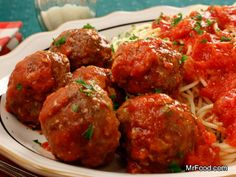 Spaghetti with Surprise Meatballs - potato chips? That is a surprise. | mrfood.com