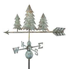 Good Directions Pine Trees Weathervane - Blue Verde Copper