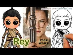 How to Draw Star Wars Rey Cute step by step The Force Awakens