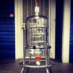 Homemade carboy conical fermenter with bottling spigot and yeast harvesting dump valve.