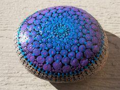 Mandala Stone, Large Bright Blue and Purple Painted Stone, Paper Weight, Dot Mandala, Meditation Stone
