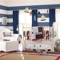sailing theme nursery- great colors! Am I horrible to not have a pink nursery if it's a girl?