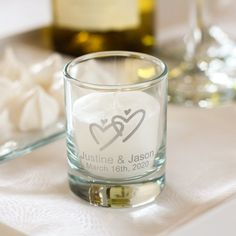 "Personalized Bridal Shower Votive Candle Holder - Make your event truly memorable with personalized wedding votive candle holders. Sure to dress up any votive we offer numerous designs to choose from. Use as favors or simply as table decorations as well. Votives stand 2.5"" inches tall."