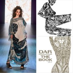 DAR THE BOOK went live on the runway in Berlin!   This powerful print is made from Johny Dar's hand drawings for DAR THE BOOK Vol2. The runway show at Mercedes-Benz Fashion Week Berlin was a fusion of art and fashion- where the artwork of DAR THE BOOK was projected into a visual journey onto the LED wall in the background and printed onto luxurious silk dresses.   Discover more at  www.darthebook.com www.johnydar.com
