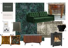 JUNGLE DEN ROOM MOOD BOARD Dark Lounge, Den Room, Rat House, Green Velvet Sofa, Large Sideboard, Paint Brands, Wood Burner, Architecture Details, Old Houses