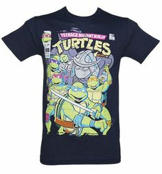 Men's Navy Teenage Mutant Ninja Turtles Comics Cover T-Shirt xoxo #TMNT
