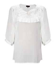 Great Plains cream ruffle blouse
