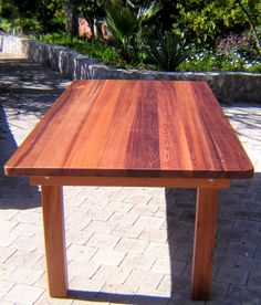 Rectangular Wood Patio Tables by Forever Redwood ...this comes with bench seating option.