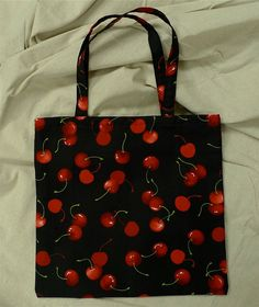 Cherries, Handmade Cotton Tote/ 20% off Super Sale from now until 4/12!