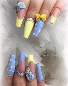 30 ideas which nail polish to choose - My Nails Nautical Nail Designs, 3d Nail Designs, Nautical Nails, Flower Nail Designs, Cute Acrylic Nails, Gel Nail Art, 3d Nails, Coffin Nails, Daisy Nail Art
