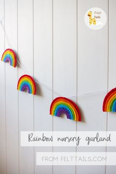 This cute felt rainbow garland is the perfect addition to any nursery, playroom or kids room. Unisex wall decor will brighten the room and make everyone happy. Also could be great to use as a colourful baby shower decoration or gift. Rainbow Bedroom, Rainbow Nursery Decor, Garland Nursery, Baby Diy Projects, Felt Garland, Rainbow Baby, Rainbow Room Kids, Rainbow Pastel, Project Nursery