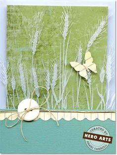 Hero Arts Cardmaking Idea: Grass Silhouette Card stamp white stazOn on acetate layer on top of card base