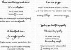 Words of Comfort Stamp Set - Sympathy Sentiments