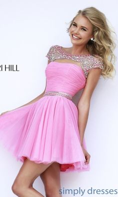 Prom Dresses, Celebrity Dresses, See Gowns: Short High Neck Sherri Hill Prom Dress Sherri Hill Prom Dresses Short, Grad Dresses Short, Cute Prom Dresses, Prom Gowns, Dance Dresses, Pretty Dresses, Homecoming Dresses, Evening Gowns, Beautiful Dresses