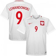 Maillot Pologne LEWANDOWSKI  2016/2017  Officiel EURO 2016 Domicile. Flocages Personnalisés Disponibles.
