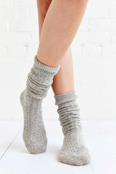 Ribbed Slouchy Crew Sock - Urban Outfitters