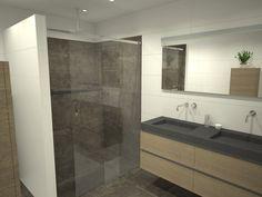 Creatief met ruimte in een grote badkamer. een badkamer met