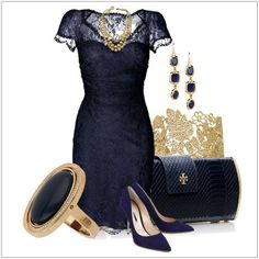 Elegant Navy Blue Dress with Gold Accessories love the earrings and bracelet Blue Dress Outfits, Navy Blue Dresses, Pretty Outfits, Pretty Dresses, Vegas Outfits, Teen Dresses, Awesome Dresses, Woman Outfits, Midi Dresses