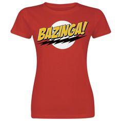 """The Big Bang Theory - Bazinga  - Front bedruckt - Rundhalsausschnitt - Passform: Normal geschnitten   """"Bazinga!"""" Hole dir das rote Girl-Shirt der TV-Serie """"The Big Bang Theory"""" im Comic-Style. Bazinga! ist das Signalwort von Sheldon, wenn er mal wieder was für seine Freunde ausgeheckt hat."""