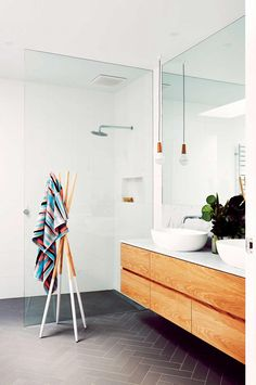 glass to floor, wood & marble vanity (want ours darker and different shape) don't hate the sinks  Master bath inspo