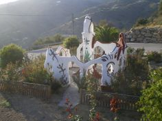 "Monumento de la Paz, Sayalonga, Málaga, Andalucia (Spain). A statement against the Spanish Civil War by artist Plací de Gaona, 2005. ""This monument is on the road to the pretty village of Sayalonga. Its structure & roses that surround it are worth visiting."""