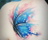 Watercolor Butterfly Tattoo, Butterfly Tattoo Cover Up, Butterfly Tattoos For Women, Butterfly Tattoo Designs, Watercolor Tattoos, Foot Tattoos, Arm Tattoo, Small Tattoos, Sleeve Tattoos