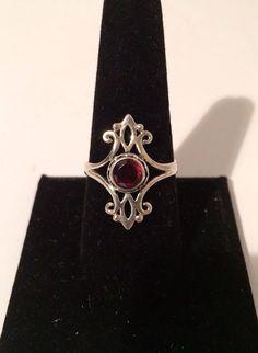 Sterling Silver 925 Red Garnet genuine by VintageLoveAntiques