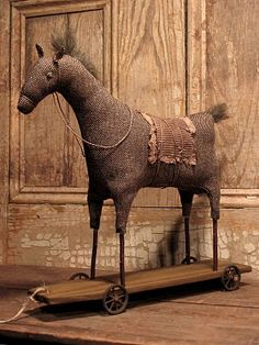 Vintage pull toy horse, made by Nicole Jahns-McMahon and Daryl McMahon. Wood Rocking Horse, Wooden Horse, Primitive Folk Art, Primitive Crafts, Primitive Patterns, Antique Toys, Vintage Toys, Pull Toy, Electronic Toys