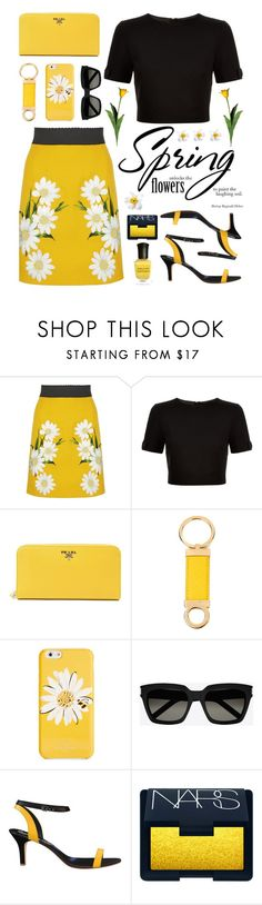 """""""Spring Bumblebee"""" by truthjc ❤ liked on Polyvore featuring Dolce&Gabbana, Ted Baker, Prada, Salvatore Ferragamo, Kate Spade, Yves Saint Laurent, Shoes of Prey, NARS Cosmetics and Deborah Lippmann"""