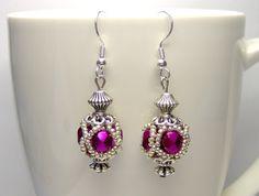 Pink beaded bead earrings victorian earrings