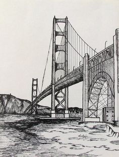 landscape drawings Golden Gate Bridge Drawing by Carol Nistle Landscape Pencil Drawings, Landscape Sketch, Ink Pen Drawings, Art Drawings Sketches, Abstract Pencil Drawings, Urban Landscape, Abstract Landscape, Landscape Paintings, Architecture Drawing Sketchbooks