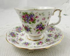 "Royal Albert ""Richmond"" Tea Cup and Saucer, Nell Gwynne Series, Pink and Purple Flowers, Vintage Bone China"