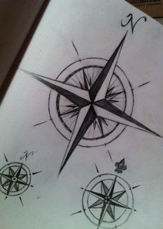 Compass Drawings Nautical Tattoo Rose