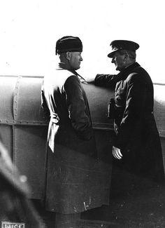 Regent Miklós Horthy of the Kingdom of Hungary and Italian dictator Benito Mussolini Italian Army, Axis Powers, Budapest Hungary, Socialism, Ducati, World War Ii, Wwii, Hero, Inner Circle