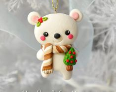 Ručně Polymer Clay Polar Bear Ornament