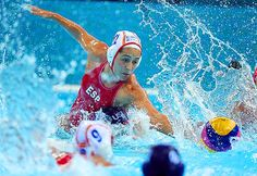 Laura Lopez Ventosa of Spain braved the clash and splash to dig for the ball during a preliminary round water polo match against the U.S., as the two teams played to a 9-9 draw. #london2012