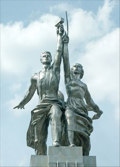 Рабочий и колхозница – The Worker and collective farmer   famous sculpture Vera Muhina, creation,  symbols and ideal of the soviet epoch, authentic monument of art.