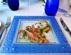 Cured Citrus Wild Salmon, Blu, Celebrity Summit.  Cuisine: Continental, spa cuisine Dress Code: Resort attire Surcharge: No for Aqua Class staterooms, other staterooms check onboard Reservations Required: No Hours Check onboard for hours