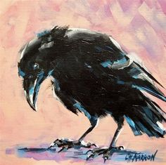 """Daily Paintworks - """"Crow on Pink"""" by Christine Karron"""