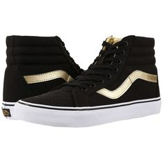 Vans SK8-Hi Reissue ((50th) Black/Gold) Skate Shoes ($70) ❤ liked on Polyvore featuring shoes, sneakers, black gold sneakers, vans sneakers, print sneakers, kohl shoes and vans footwear